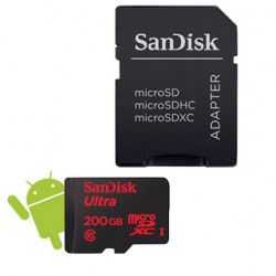 SanDisk microSDXC 200 GB +SD Adapter +Memory Zone Android App 90 MB/s Class 10